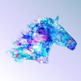Horse illustration in blue tones Stock Image