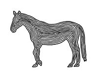 A horse illustration icon in black offset line. Fingerprint styl. E for logo or background design Stock Photos