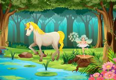 Horse. Illustration of a horse in a jungle Royalty Free Stock Photography