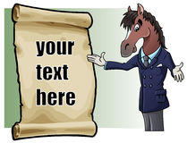 Horse introducing. Cartoon illustration: an elegant and charming horse and a parchment with sample text. Easy to edit Royalty Free Stock Photo