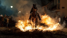 Horse with its rider rapidly breaking through the fire Stock Images