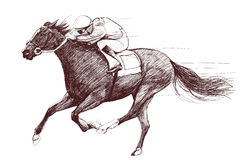 Horse and jockey. Vector illustration of a racing horse and jockey Stock Images