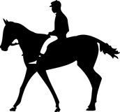 Horse Jockey. Vector art black and white horse and male jockey Stock Photo
