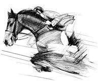 Horse and jockey. Vector illustration of a racing horse and jockey Royalty Free Stock Images