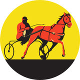 Horse and Jockey Harness Racing Circle Retro. Illustration of a horse and jockey harness racing viewed from the side set inside circle on  background done in Stock Image