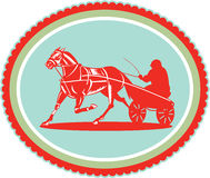 Horse and Jockey Harness Racing Rosette Retro Royalty Free Stock Photos