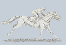 Horse and jockey in a race Stock Images