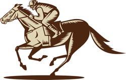 Horse and jockey racing Royalty Free Stock Photo