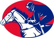Horse and jockey racing side view Royalty Free Stock Photos