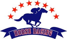Horse and jockey racing stars Royalty Free Stock Photo