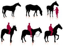 Horse and Jockey Silhouette Set Royalty Free Stock Photo