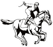 Horse and jockey victory salut vector illustration