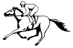 Horse and jockey on a winning. Vector art of a Horse and jockey on a winning run Royalty Free Stock Image