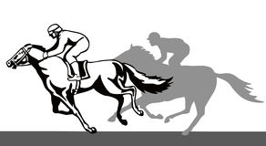 Horse and jockey on a winning royalty free illustration