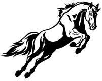 Horse jump. Black white illustration Stock Photos