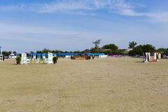 Horse jump course at the equitation contest. In Bucharest stock image