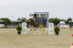 Horse jump course at the equitation contest. In Bucharest royalty free stock image