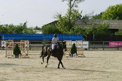 Horse jump at the equitation contest. In Bucharest stock photography