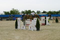 Horse jump at the equitation contest. In Bucharest royalty free stock photography