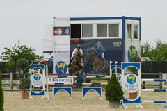 Horse jump at the equitation contest. In Bucharest royalty free stock image