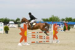 Horse jump at the equitation contest. In Bucharest royalty free stock photos