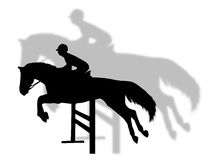 Horse jumping. With shadow on the background Royalty Free Stock Images