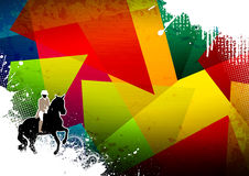 Horse jumping. Abstract grunge horse jumping sport background with space Stock Image