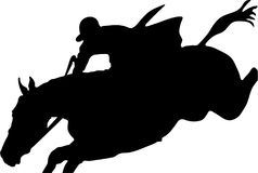 Horse jumping. Horse rider jumping  silhouette Royalty Free Stock Photo