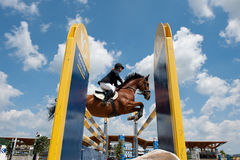 Horse jumping competition in Pezinok, Slovakia Stock Photo