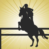 Horse Jumping Gold Stock Photography