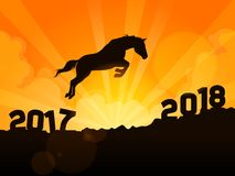 Horse jumping into next year 2018. A symbolic illustration of a silhouetted horse jumping into next year of 2018 royalty free illustration