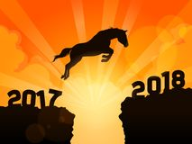 Horse jumping into next year. A symbolic illustration of a silhouetted horse jumping over cliffs into next year of 2018 royalty free illustration
