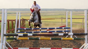 Horse jumping obstacles in slomo Stock Photos