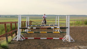 Horse jumping obstacles in slomo Royalty Free Stock Photos