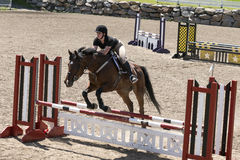 Horse jumping sport. Bromont june 14, 2015 picture of brown horse with young girl jumping a hurdle during competition Royalty Free Stock Images