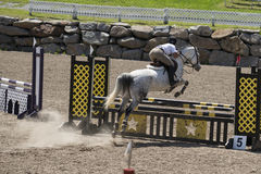 Horse jumping sport. Bromont june 14, 2015 picture of white horse with young girl jumping a hurdle during competition Royalty Free Stock Images