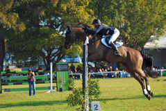 Horse jumping winner Jade Hooke stock photos