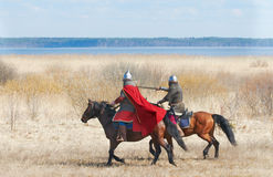 The horse knight in an armour Stock Images