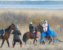 Battle of horse knights Stock Photography