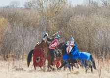 Battle of horse knights Royalty Free Stock Photo