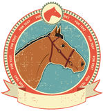 Horse label on old paper texture.Vintage style. Horse head label on old paper texture.Vintage style stock illustration