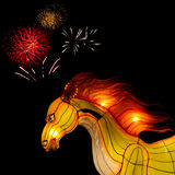 Horse lantern with firework at  lantern festival, Thailand Stock Photography