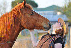A horse leans in to give pretty young lady a kiss Royalty Free Stock Images