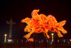 Horse lighting sculpture. Chinese new year horse lighting sculpture in Xinghai square Dalian, China Stock Photography