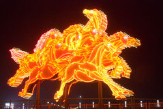 Horse lighting sculpture. Chinese new year horse lighting sculpture in Xinghai square Dalian, China Stock Photo