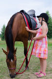 Horse like a best friend Stock Photography