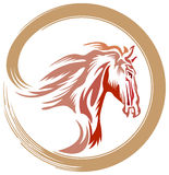 Horse logo. Line art horse logo design with isolated background Stock Photography
