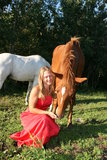 Horse Love. Pretty girl sitting in the grass feeding her horse Royalty Free Stock Photo