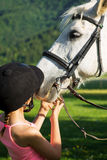 Horse and lovely girl Royalty Free Stock Image