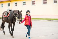 Horse and lovely girl - best friends stock photos